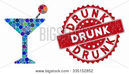 Mosaic Cocktail And Rubber Stamp Seal With Drunk Caption. Mosaic Vector Is Created With Cocktail Ico