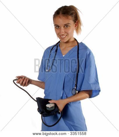 Nurse Ready To Take Vitals