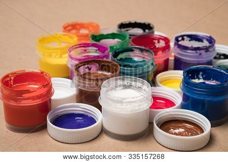Set Of Paints For Painting.background From Paints.  Acrylic Paints. Tubes With Acrylic Paint.