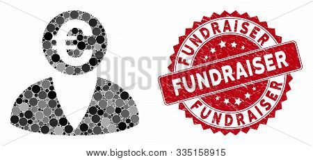 Mosaic Euro Banker And Rubber Stamp Watermark With Fundraiser Text. Mosaic Vector Is Created With Eu