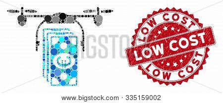 Mosaic Euro Banknotes Drone And Rubber Stamp Seal With Low Cost Phrase. Mosaic Vector Is Formed With