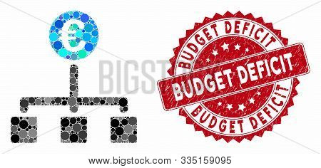 Mosaic Euro Cash Flow And Distressed Stamp Watermark With Budget Deficit Text. Mosaic Vector Is Comp