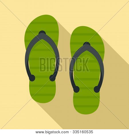 Beach Slippers Icon. Flat Illustration Of Beach Slippers Vector Icon For Web Design