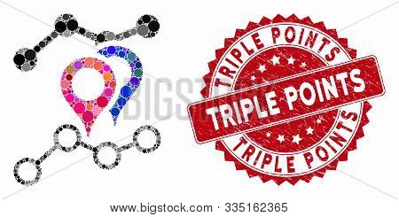 Mosaic Geotargeting Charts And Distressed Stamp Seal With Triple Points Caption. Mosaic Vector Is Fo