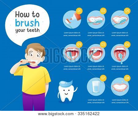 How To Brush Your Teeth Instruction. Health Care Concept Info Graphic. Vector Cartoon Dental Info-gr