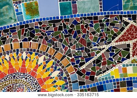 Detail of a beautiful abstract ceramic mosaic decoration