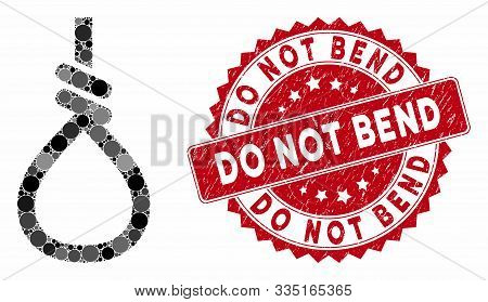 Mosaic Loop Knot And Grunge Stamp Seal With Do Not Bend Text. Mosaic Vector Is Designed With Loop Kn
