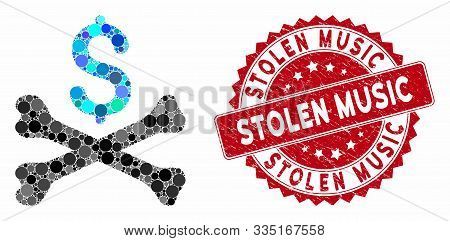 Mosaic Mortal Debt And Rubber Stamp Watermark With Stolen Music Text. Mosaic Vector Is Designed With