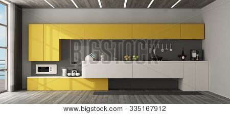 Interior View Of A Yellow Modern Kitchen With Wooden Ceiling - 3d Rendering