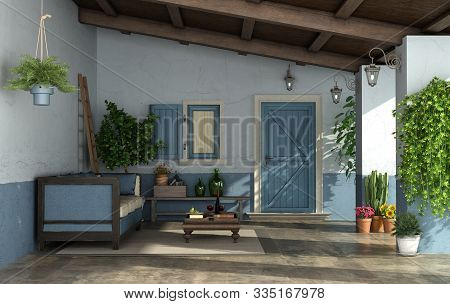 Porch In Mediterranean Style With Front Door, ,vintage Sofa And Old Walls- 3d Rendering