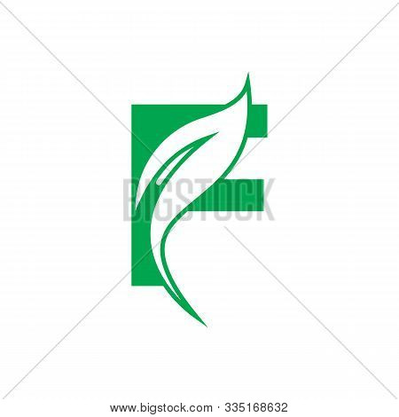 Natural Letter F Modern Alphabet Green Logo Vector With Leaf. Organic Leaf Letter F Green Logo. Agri