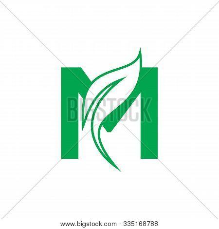Natural Letter M Modern Alphabet Green Logo Vector With Leaf. Organic Leaf Letter M Green Logo. Agri