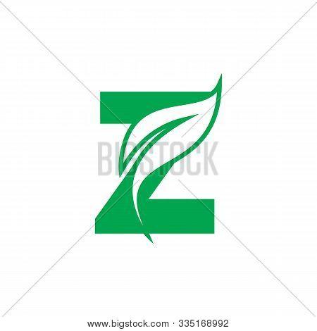 Natural Letter Z Modern Alphabet Green Logo Vector With Leaf. Organic Leaf Letter Z Green Logo. Agri