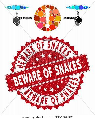 Mosaic Quadcopter Problem And Rubber Stamp Seal With Beware Of Snakes Text. Mosaic Vector Is Compose