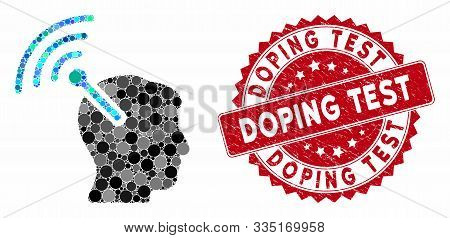 Mosaic Radio Neural Interface And Rubber Stamp Seal With Doping Test Phrase. Mosaic Vector Is Create