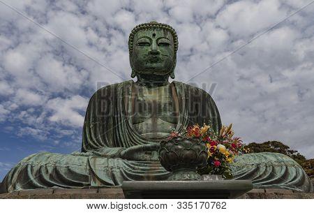 Kamakura, Japan - November 1st, 2018: The Giaht Budha Statue At The Kotokuin Temple In Kamakura, Jap