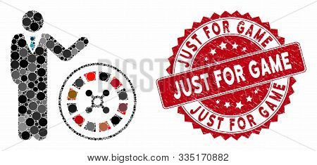 Mosaic Roulette Croupier And Grunge Stamp Seal With Just For Game Caption. Mosaic Vector Is Designed