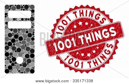 Collage Server Mainframe And Grunge Stamp Seal With 1001 Things Text. Mosaic Vector Is Designed From