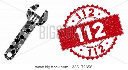Mosaic Spanner And Grunge Stamp Seal With 112 Phrase. Mosaic Vector Is Formed With Spanner Icon And