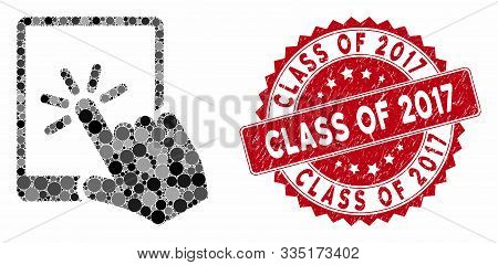 Mosaic Tablet Click And Grunge Stamp Watermark With Class Of 2017 Phrase. Mosaic Vector Is Formed Wi