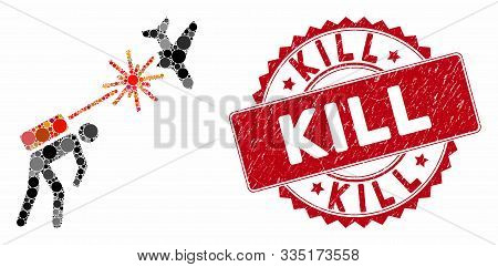Mosaic Terrorist Strikes Aircraft And Distressed Stamp Seal With Kill Phrase. Mosaic Vector Is Creat