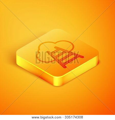 Isometric Line Ladder Leading To Cloud Icon Isolated On Orange Background. Stairs Leading To The Clo