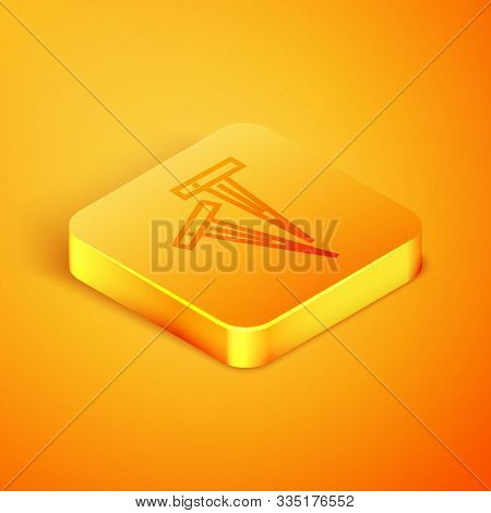 Isometric Line Pegs For Tents Icon Isolated On Orange Background. Extreme Sport. Sport Equipment. Or