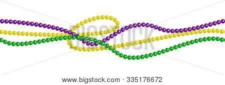 Seamless Horizontal Pattern Beautiful Yellow, Green, Purple Beads On A White Background. Mardi Gras