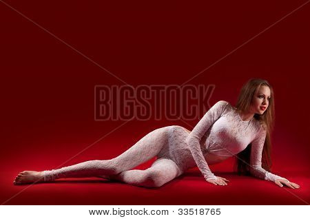 Woman In A Skintight Suit Her Figure