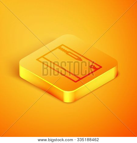 Isometric Line Underwater Note Book And Pencil For Snorkeling Icon Isolated On Orange Background. Wa