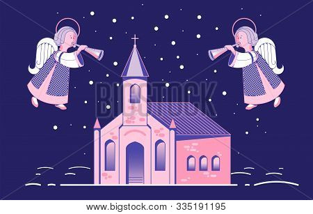 Festive Angel Plays The Flute, Trumpet, Against The Sky Above The Church. Christmas Card In Flat Sty