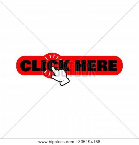 Hand Pointer Clicking Click Here Button Vector. Round Shape Click Here Icon For Web Banner And Site