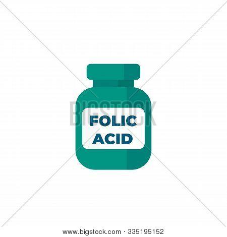 Folic Acid Bottle Icon On White, Eps 10 File, Easy To Edit