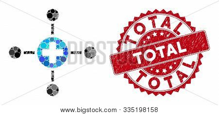 Mosaic Medical Center And Grunge Stamp Seal With Total Caption. Mosaic Vector Is Formed With Medical