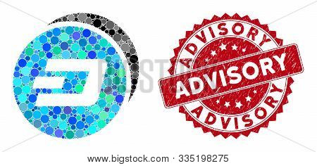 Mosaic Dash Coins And Distressed Stamp Watermark With Advisory Text. Mosaic Vector Is Created With D