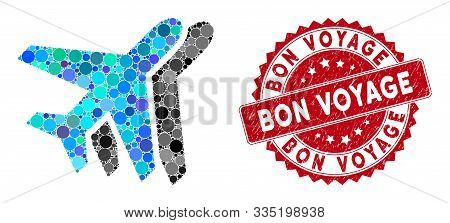 Mosaic Airlines And Grunge Stamp Seal With Bon Voyage Text. Mosaic Vector Is Created With Airlines I