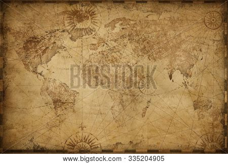 Vintage old world map based on image furnished by NASA