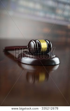 Gavel. Law, Auction And Business Concept.  Gavel In The Lawyer Library.