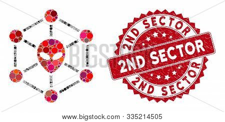 Mosaic Alien Network And Grunge Stamp Seal With 2nd Sector Text. Mosaic Vector Is Designed With Alie