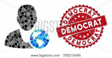 Mosaic International Manager And Grunge Stamp Seal With Democrat Text. Mosaic Vector Is Designed Wit
