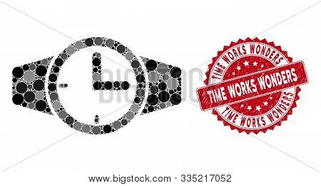 Mosaic Watches And Distressed Stamp Seal With Time Works Wonders Caption. Mosaic Vector Is Designed