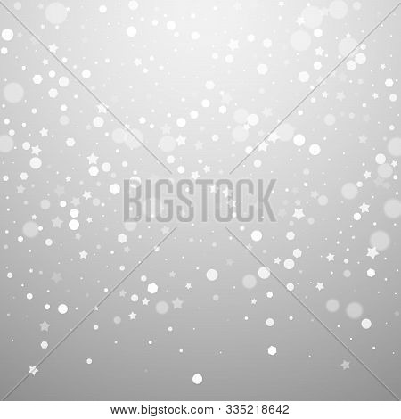 Magic Stars Random Christmas Background. Subtle Flying Snow Flakes And Stars On Light Grey Backgroun