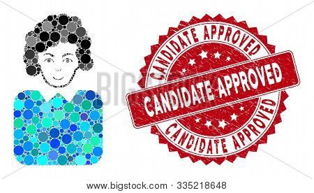 Mosaic Bureaucrat Lady And Rubber Stamp Seal With Candidate Approved Text. Mosaic Vector Is Composed