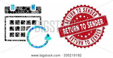 Mosaic Update Calendar And Grunge Stamp Seal With Return To Sender Caption. Mosaic Vector Is Created
