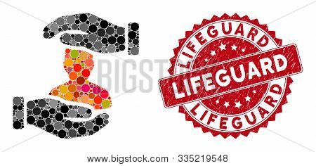 Collage Patient Insurance And Grunge Stamp Seal With Lifeguard Caption. Mosaic Vector Is Designed Wi