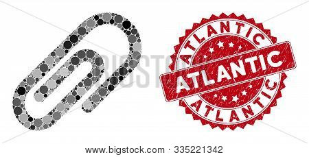 Mosaic Paperclip And Distressed Stamp Seal With Atlantic Caption. Mosaic Vector Is Created With Pape