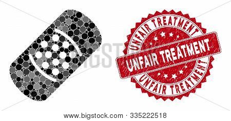 Mosaic Patch And Corroded Stamp Seal With Unfair Treatment Phrase. Mosaic Vector Is Designed With Pa
