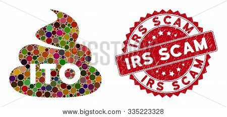 Mosaic Ito Shit And Grunge Stamp Watermark With Irs Scam Text. Mosaic Vector Is Created From Ito Shi