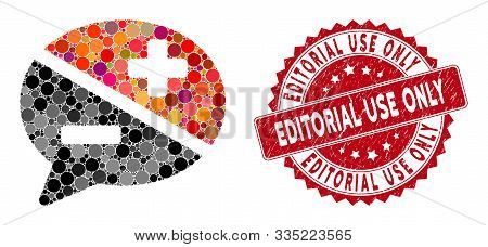 Mosaic Arguments And Distressed Stamp Seal With Editorial Use Only Phrase. Mosaic Vector Is Composed