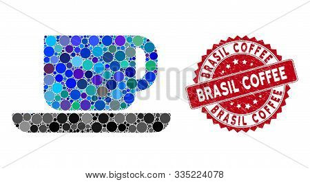 Mosaic Tea Cup And Grunge Stamp Seal With Brasil Coffee Phrase. Mosaic Vector Is Composed From Tea C